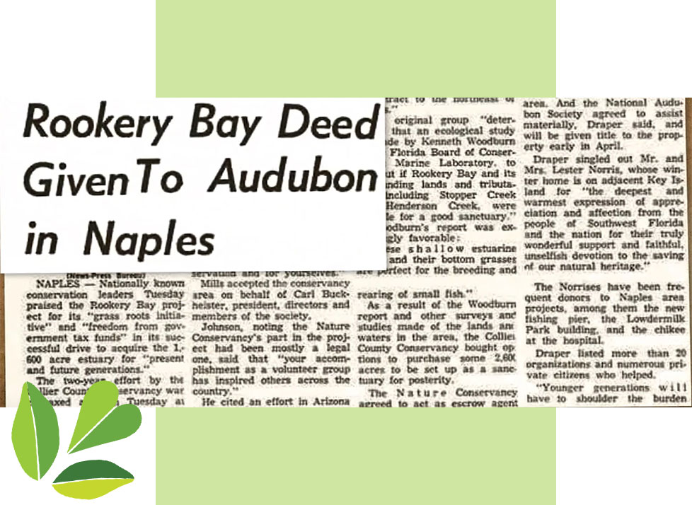 Rookery Bay Research Reserve History | Deed Given to Audubon in Naples