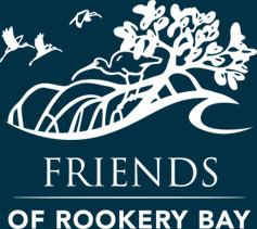 Friends of Rookery Bay White Logo on Dark Blue Background