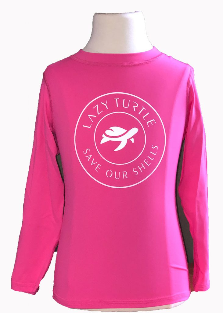 Lazy Turtle | Pink Long Sleeve Kids Shirt Front | Nature Store | Rookery Bay Research Reserve