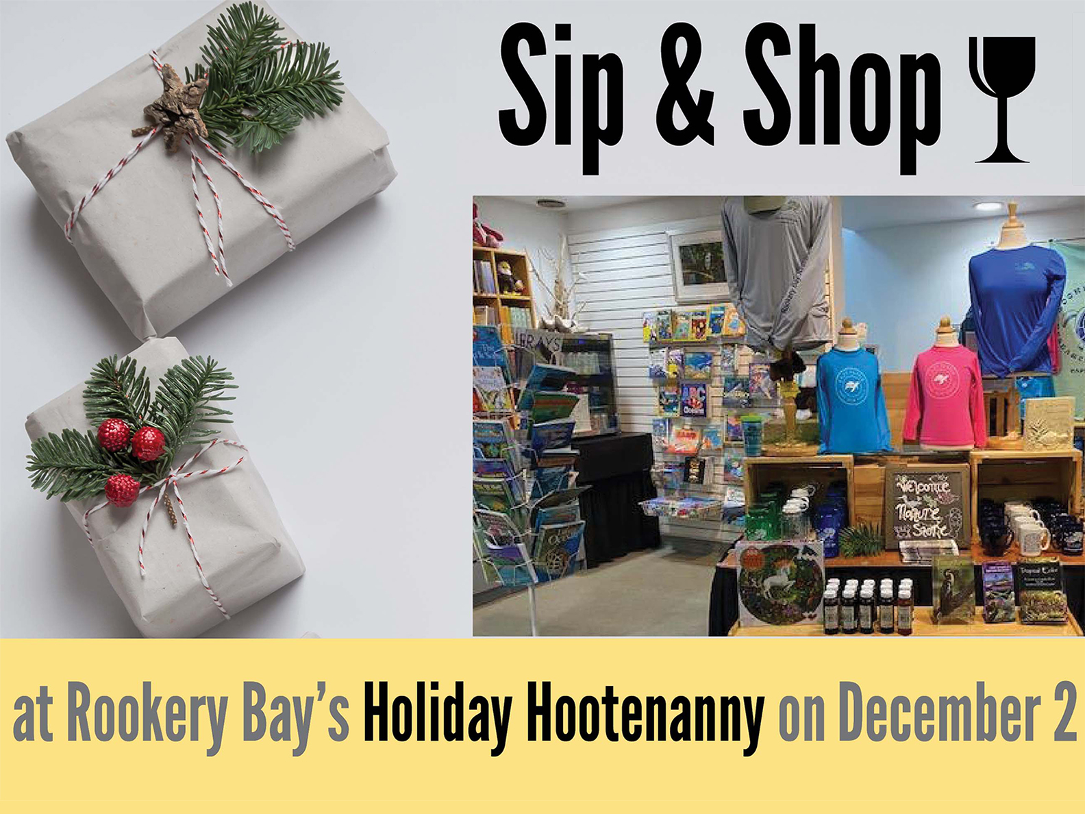Holiday Hootenanny | Sip and Shop | Events | Nature Store | Rookery Bay Research Reserve