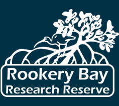Rookery Bay Research Reserve White Logo on Dark Blue Background